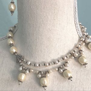 One-of-a-kind Pearl and Silver Necklace & Earrings